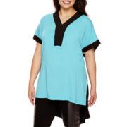 Bisou Bisou® Short-Sleeve V-Neck Side Slit Tunic Top - Plus