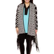 Bisou Bisou® Fringe Open Cardigan Sweater - Plus