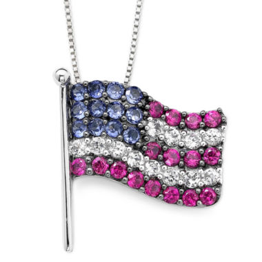 jcpenney.com | Lab-Created Blue/White Sapphire & Ruby Flag Pendant Necklace