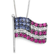 Lab-Created Blue/White Sapphire & Ruby Flag Pendant Necklace