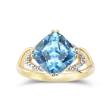 jcpenney.com | 14K Gold-Plated Silver Blue Topaz & Diamond-Accent Ring