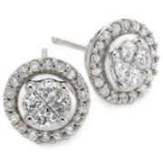 Harmony Eternally in Love 1 CT. T.W. Diamond Cluster Stud Earrings