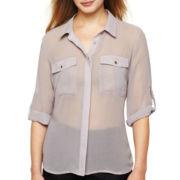 Worthington® Roll Cuff Shirt - Petite
