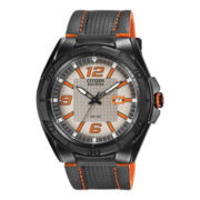 Citizen® Eco-Drive® Mens Black with Leather Strap Watch AW1385-03H