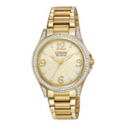 Citizen® Eco-Drive® Womens Crystal-Accent Gold-Tone Bracelet Watch EM0232-54P