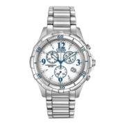 Citizen® Eco-Drive™ Womens Blue-Accent Silver-Tone Chronograph Watch FB1350-58A
