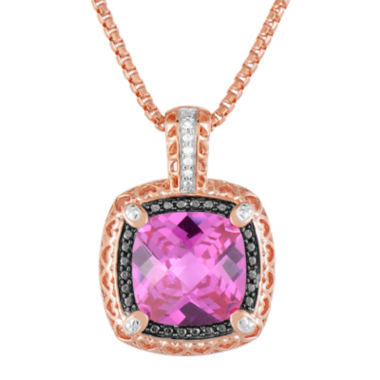 jcpenney.com | LIMITED QUANTITIES! 14K Rose Gold over Silver Lab-Created Pink Sapphire and Color-Enhanced Black Diamond Pendant