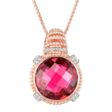 jcpenney.com | LIMITED QUANTITIES!  14K Rose Gold over Silver Glass-Filled Ruby and Lab-Created White Sapphire Pendant