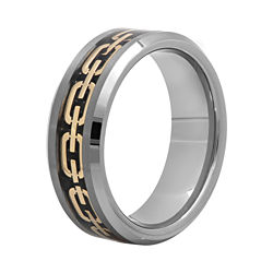 BEST VALUE! Mens 8mm Comfort Fit Chain Inlay Tungsten Wedding Band