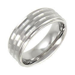 BEST VALUE! Mens 8mm Comfort Fit Hammered Stainless Steel Wedding Band