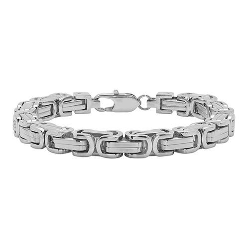Mens Stainless Steel Square Byzantine Bracelet