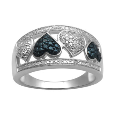jcpenney.com | 1/10 CT. T. W. White & Color-Enhanced Blue Diamond Heart Ring