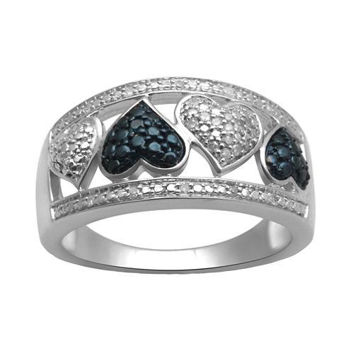 1/10 CT. T. W. White & Color-Enhanced Blue Diamond Heart Ring