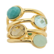 Athra 14K Gold-Plated Aqua & Smoky Resin 4-Stone Ring