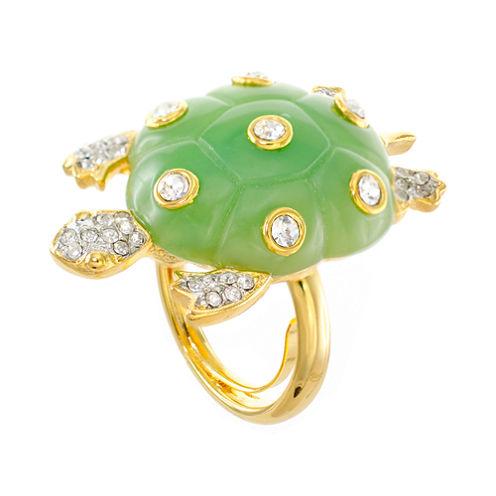 KJL by KENNETH JAY LANE Green Enamel & Crystal Turtle Ring