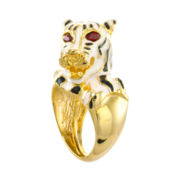 KJL by KENNETH JAY LANE Enamel and Red Crystal Tiger Ring