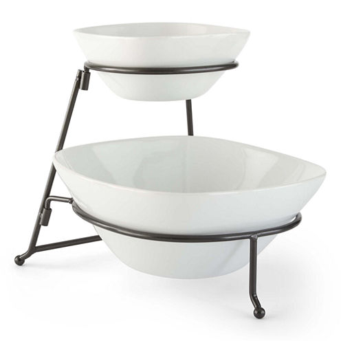 JCPenney Home™ Set of 2 Serving Bowls on Metal Rack