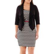 Studio 1® 3/4-Sleeve Belted Chevron Print Jacket Dress - Plus