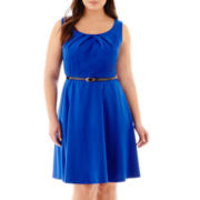 Alyx® Sleeveless Belted Fit-and-Flare Dress - Plus