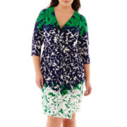 Studio 1® 3/4-Sleeve Ombré Leaf-Print Dress - Plus