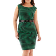 Alyx® Sleeveless Belted Striped Knit Dress - Plus