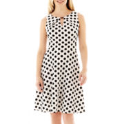 DR Collection Sleeveless Polka Dot A-Line Dress - Petite
