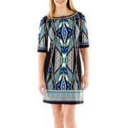 Studio 1® Elbow-Sleeve Aztec Print Dress - Petite