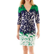 Studio 1® 3/4-Sleeve Ombré Leaf-Print Dress - Petite