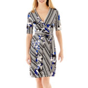 Studio 1® Elbow-Sleeve Striped Floral Print Dress - Petite