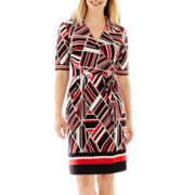 Studio 1® Elbow-Sleeve Collared Faux-Wrap Dress - Petite