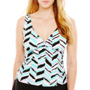 St. John's Bay® Chevron Print Tankini Swim Top - Plus