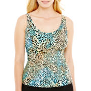 St. John's Bay® Animal Print Tankini Swim Top - Plus