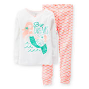 Carter's® 2-pc. Long-Sleeve Mermaid Pajama Set - Girls 2t-5t