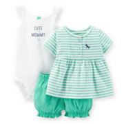 Carter's® Dress, Bodysuit and Bubble Shorts Set – Girls newborn-24m