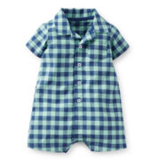 Carter's® Short-Sleeve Checked Romper – Boys newborn-24m