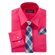 Steve Harvey® Dress Shirt, Tie and Handkerchief Set – Boys 8-20