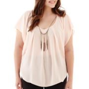 by&by Short-Sleeve Necklace Top - Plus