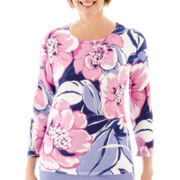Alfred Dunner® Newport 3/4-Sleeve Floral Print Sweater - Petite