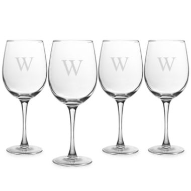 jcpenney.com | Cathy's Concepts Personalized Set of 4 White Wine Glasses