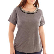 a.n.a® Short-Sleeve Jeweled-Neck Tee - Plus