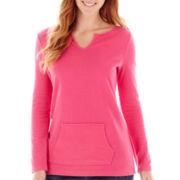 Liz Claiborne® Long-Sleeve Kangaroo Pocket Solid Tee