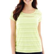 Liz Claiborne® Short-Sleeve Shadow-Striped Tee with Cami - Tall