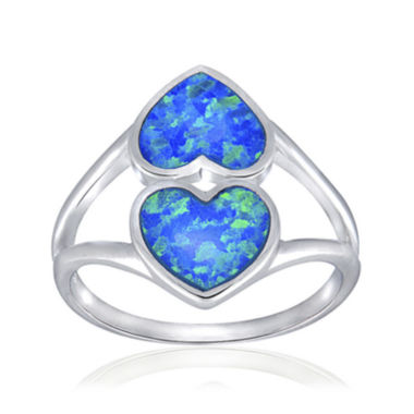 jcpenney.com | Simulated Blue Opal Sterling Silver Heart Ring
