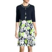 Perceptions Elbow-Sleeve Floral Jacket Dress