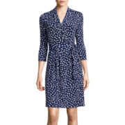 Liz Claiborne® 3/4-Sleeve Wrap Dress