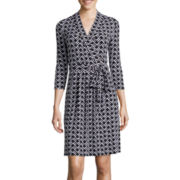 Liz Claiborne® 3/4-Sleeve Chevron Print Wrap Dress
