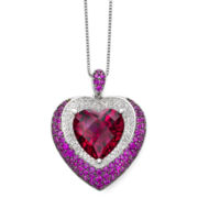 Lab-Created Ruby and White Sapphire Sterling Silver Pendant Necklace