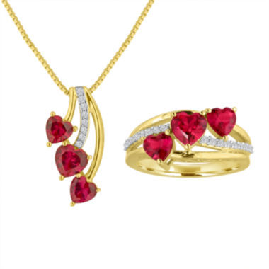 jcpenney.com | Lab Created Ruby And White Sapphire In 14K Gold Over Silver Necklace or Ring
