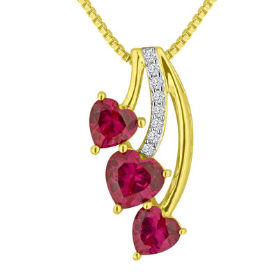 Fine Jewelry Lab-Created Ruby and Lab-Created White Sapphire 14K Gold Over Sterling Silver Pendant