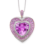 Lab-Created Pink and White Sapphire Pendant Necklace